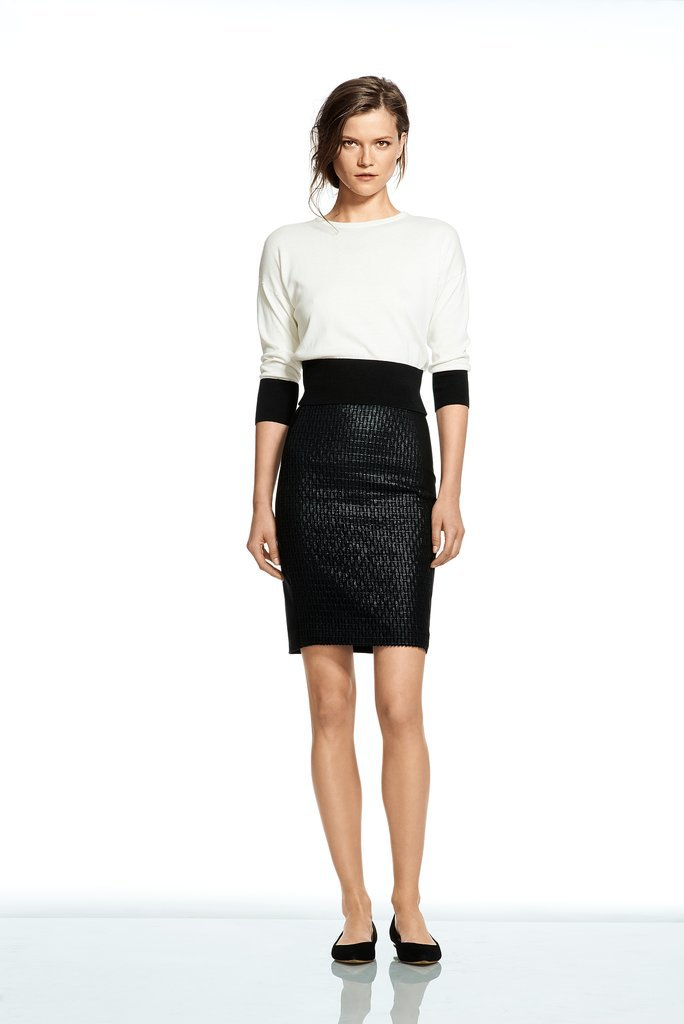 Roland Mouret Lace Pencil Skirt and Colorblock Crew