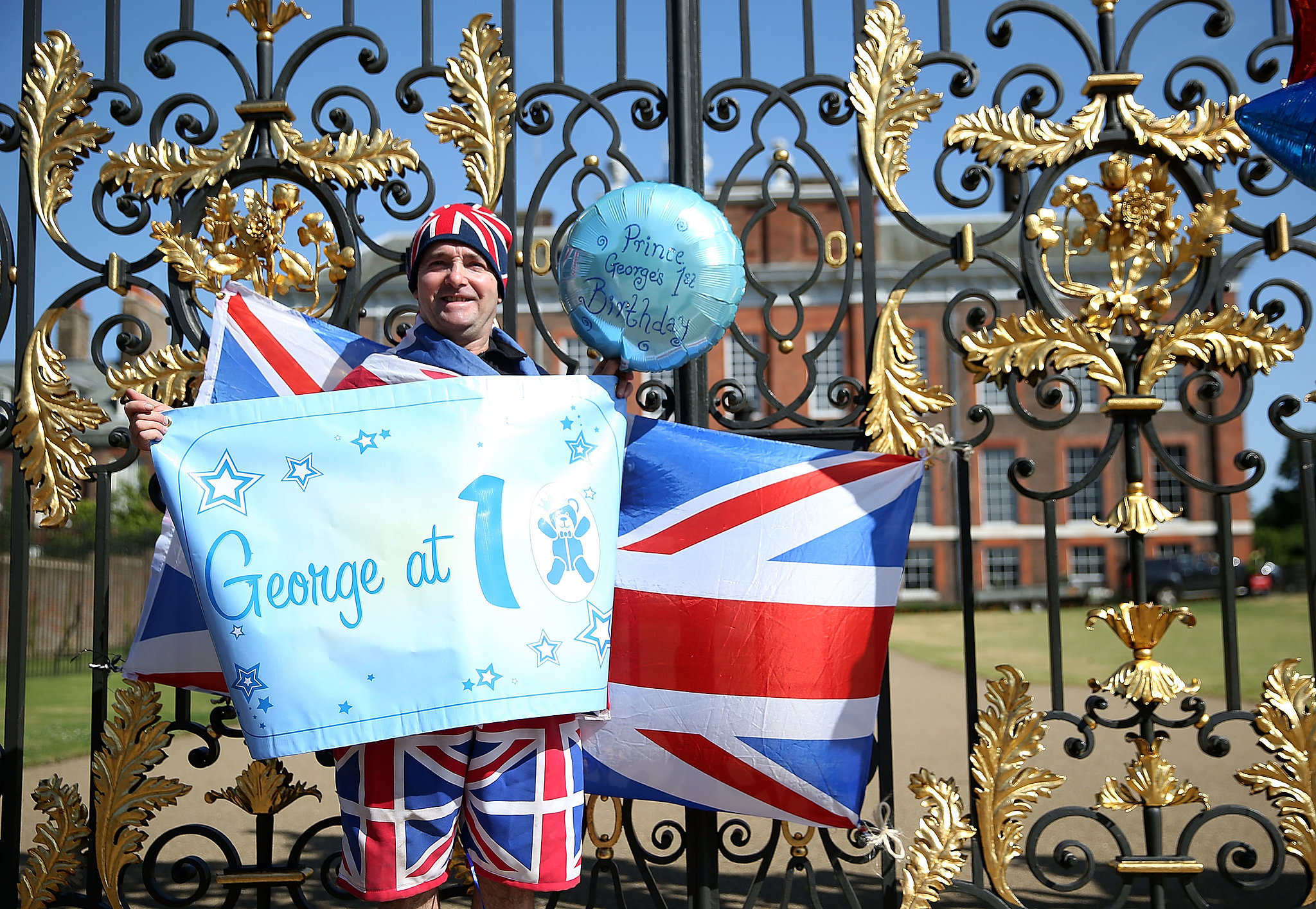 Fans wished George a happy birthday outside of Kensington Palace.