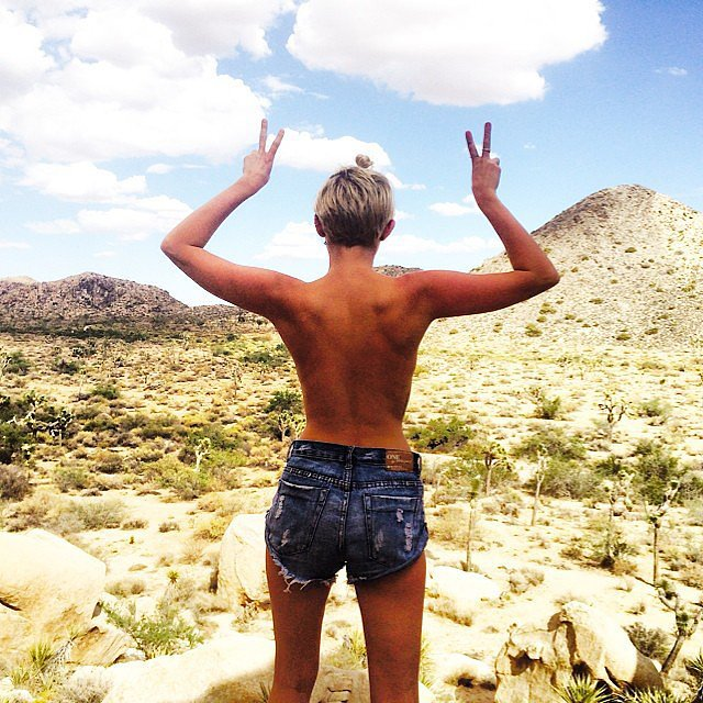 Miley Cyrus went topless in the desert. Source: Instagram user mileycyrus