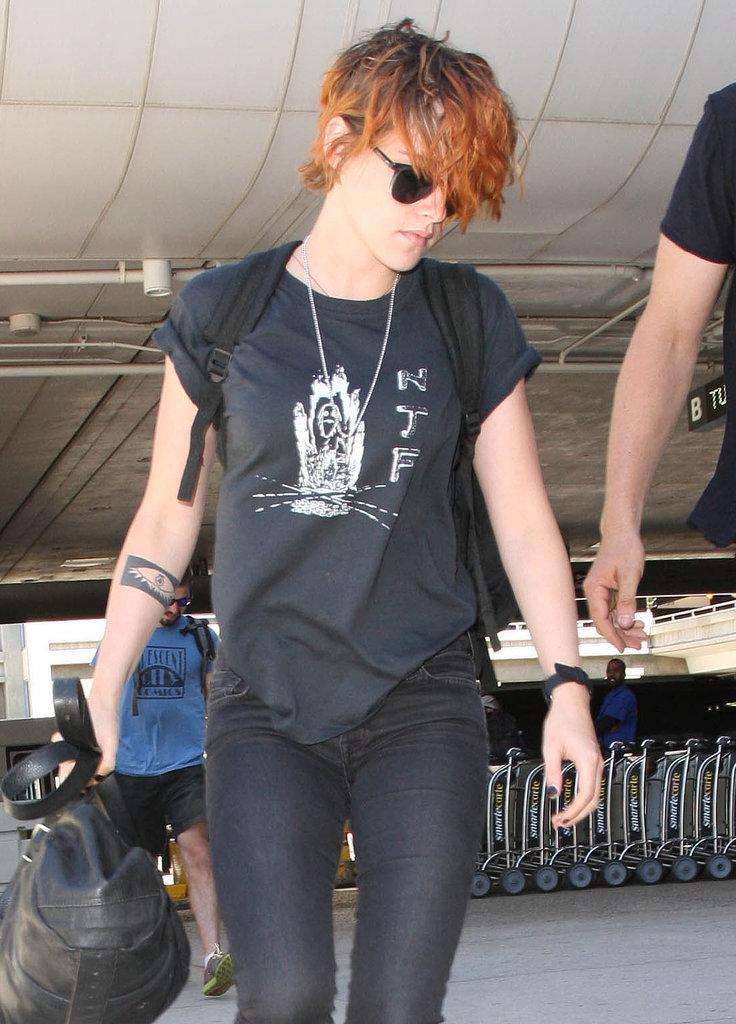Kristen Stewart With Short Hair at LAX | July 2014