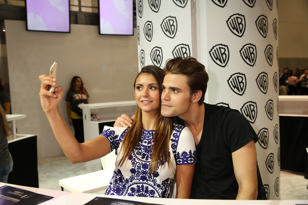 Nina Dobrev snapped a selfie with Paul Wesley while representing the Vampire Diaries cast on Saturday.