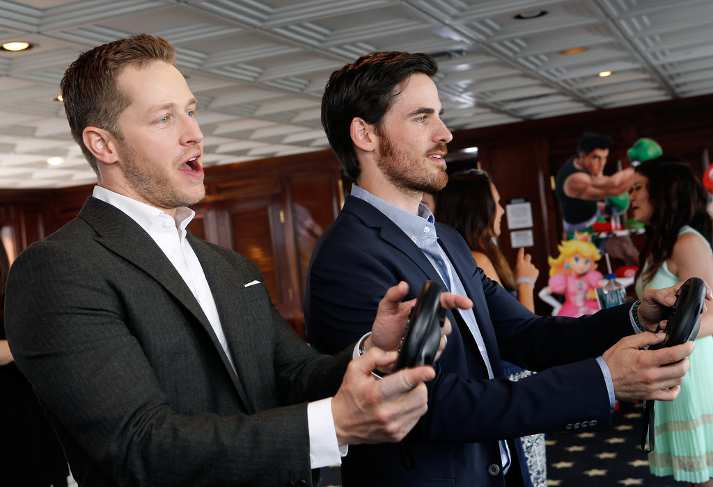 Josh Dallas and Colin O'Donoghue played a video game at the Nintendo lounge on the TV Guide magazine yacht on Saturday.