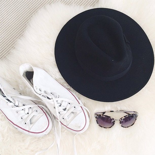 Dress code for the weekend? Comfy shoes and serious sun protection in the form of a wide-brimmed hat and shades. Source: Instagram user weworewhat