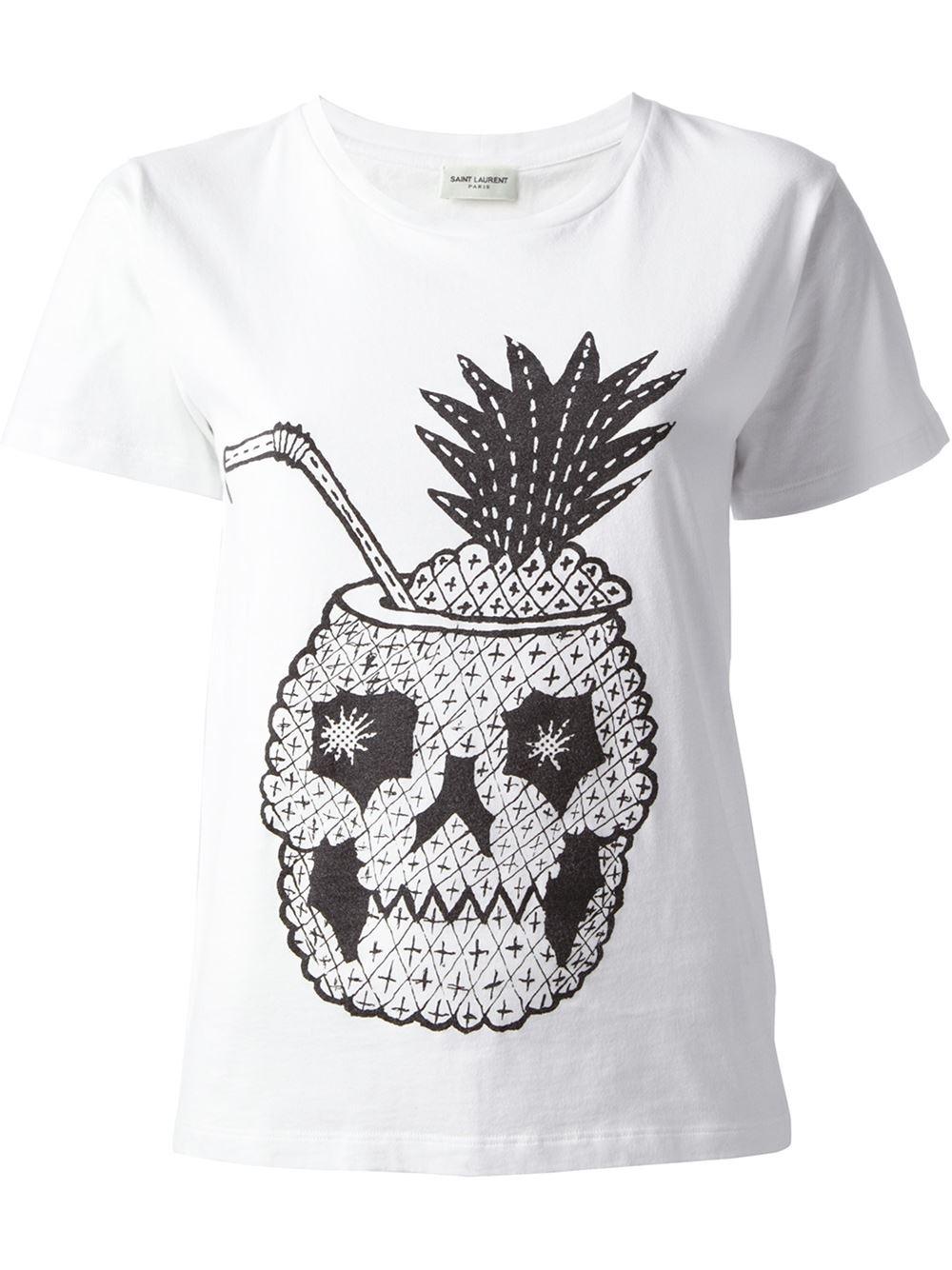 Saint Laurent Pineapple Skull T-Shirt