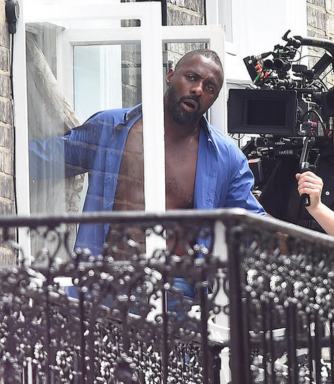 Open shirt Idris Elba and Gemma Arterton filming A Hundred Streets