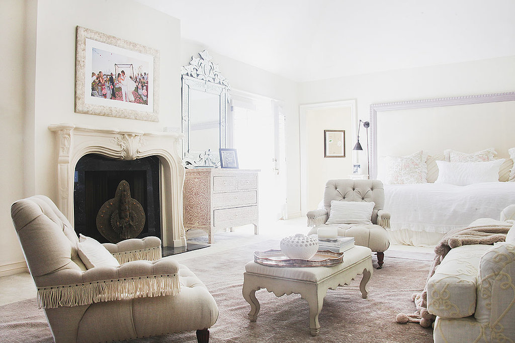 Whites and beiges help create a relaxing vibe in a bedroom. Photo by Tessa Neustadt. via Homepolish