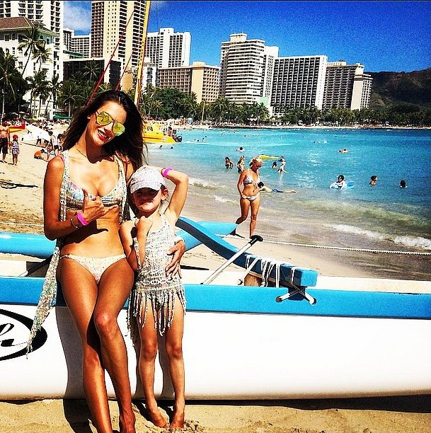 """With my mini me,"" Alessandra wrote, adding a hashtag for matching bikinis. Source: Instagram user alessandraambrosio"