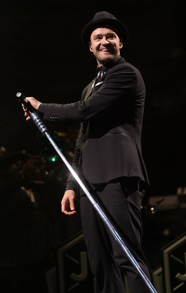 On Saturday, Justin Timberlake smiled at the audience during his performance at the V Festival in Chelmsford, England.