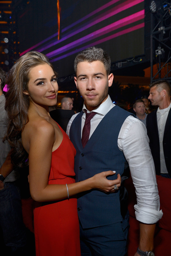 On Saturday, Joe Jonas partied with his girlfriend, Olivia Culpo, at his brother Joe's birthday celebration at XS nightclub in Las Vegas.