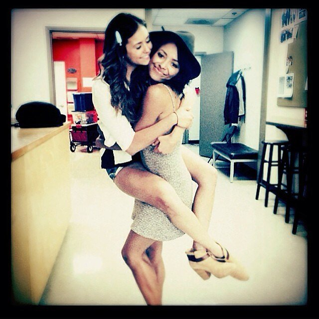 Nina Dobrev and Kat Graham reunited on the first day of shooting season six.