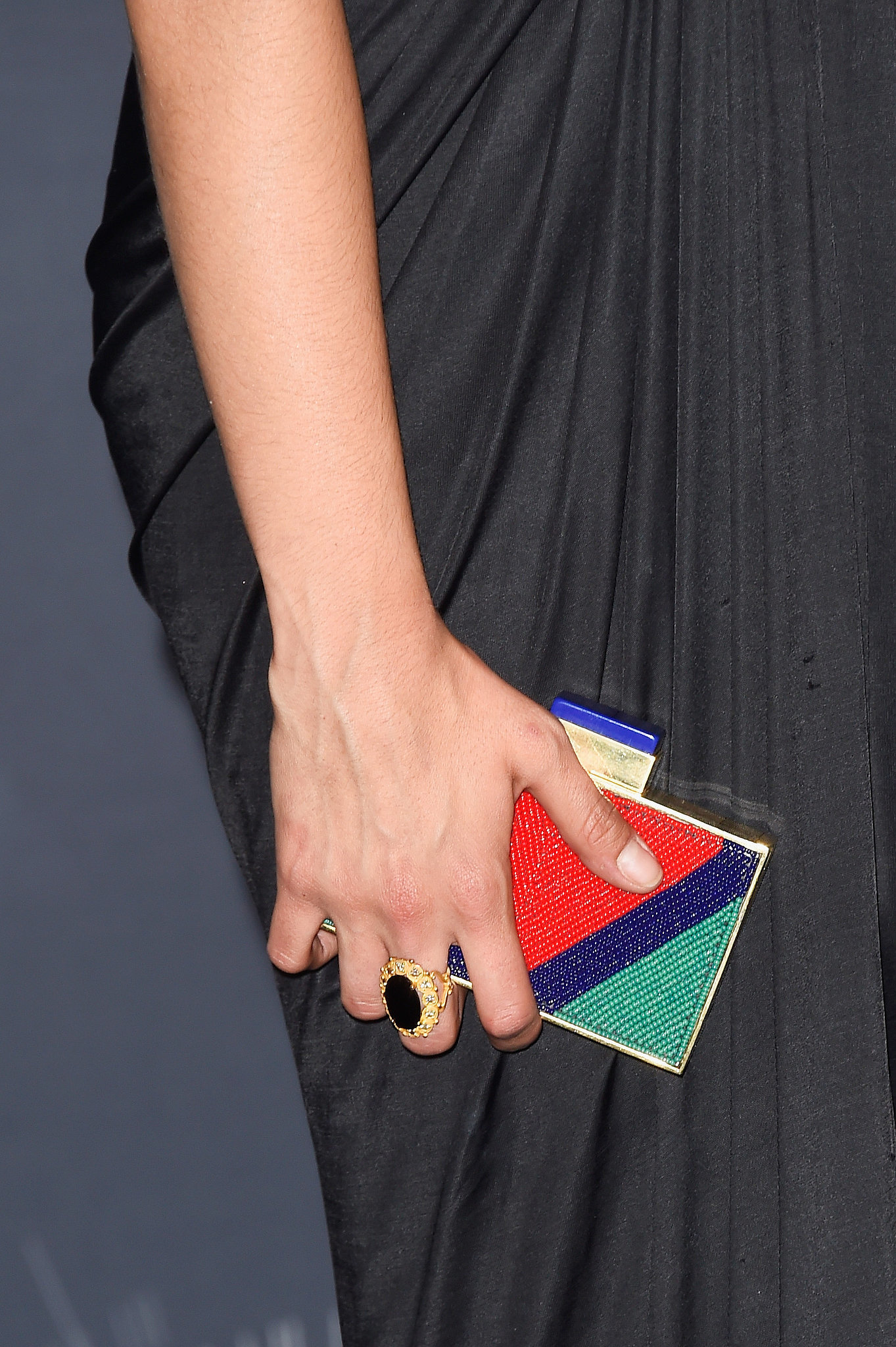 Nina Dobrev's colorblock Michael Nelson clutch totally sugarcoated her outfit.
