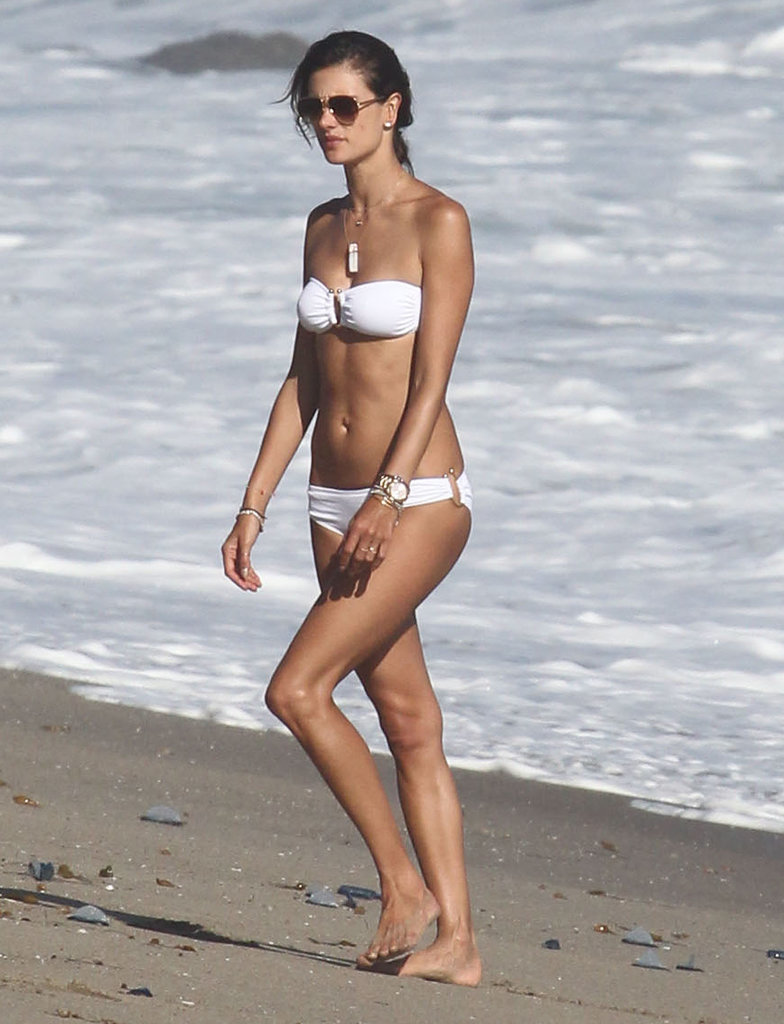 Alessandra Ambrosio had a beach day in Malibu, CA, on Saturday.