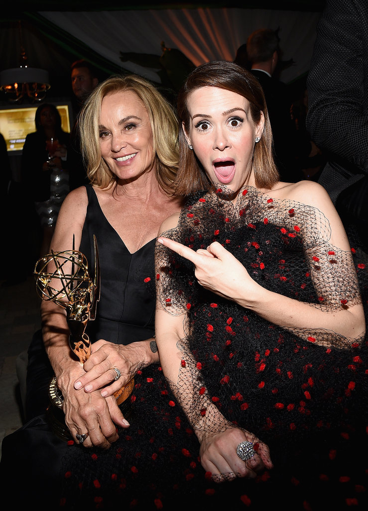 Sarah Paulson celebrated her American Horror Story costar Jessica Lange's big win at the Fox/FX party.