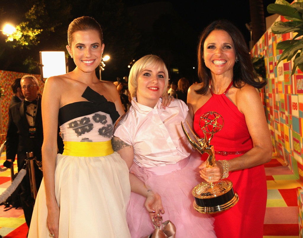 Girls stars Allison Williams and Lena Dunham posed with a smiley Julia Louis-Dreyfus on the red carpet at the HBO bash.