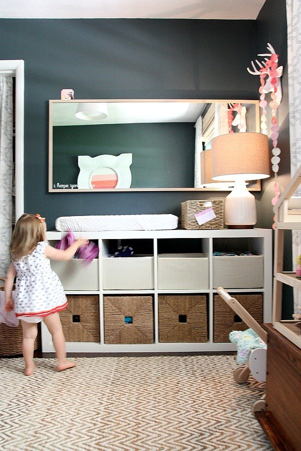 Genius Idea Ikea Expedit Shelves With Baskets For Storage: A Genius Space-saving Solution For A Nursery, These