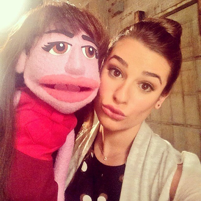 She posed with her Rachel Berry puppet on the set of Glee in November 2013.