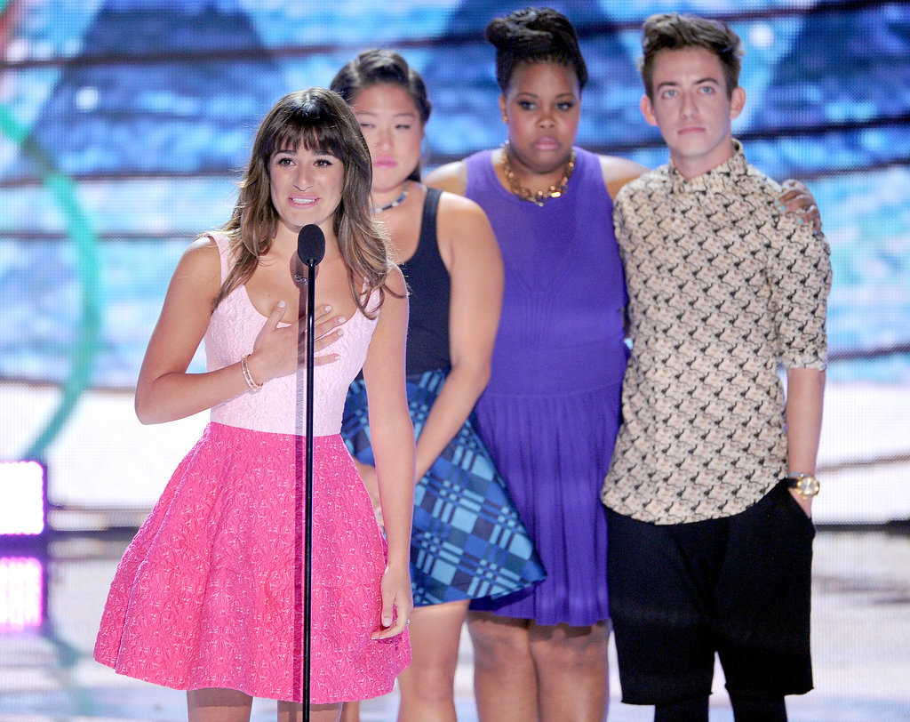 Lea had the support of her Glee castmates — Jenna Ushkowitz, Amber Riley, and Kevin McHale — when she made a tearful acceptance speech at the Teen Choice Awards in August 2013.