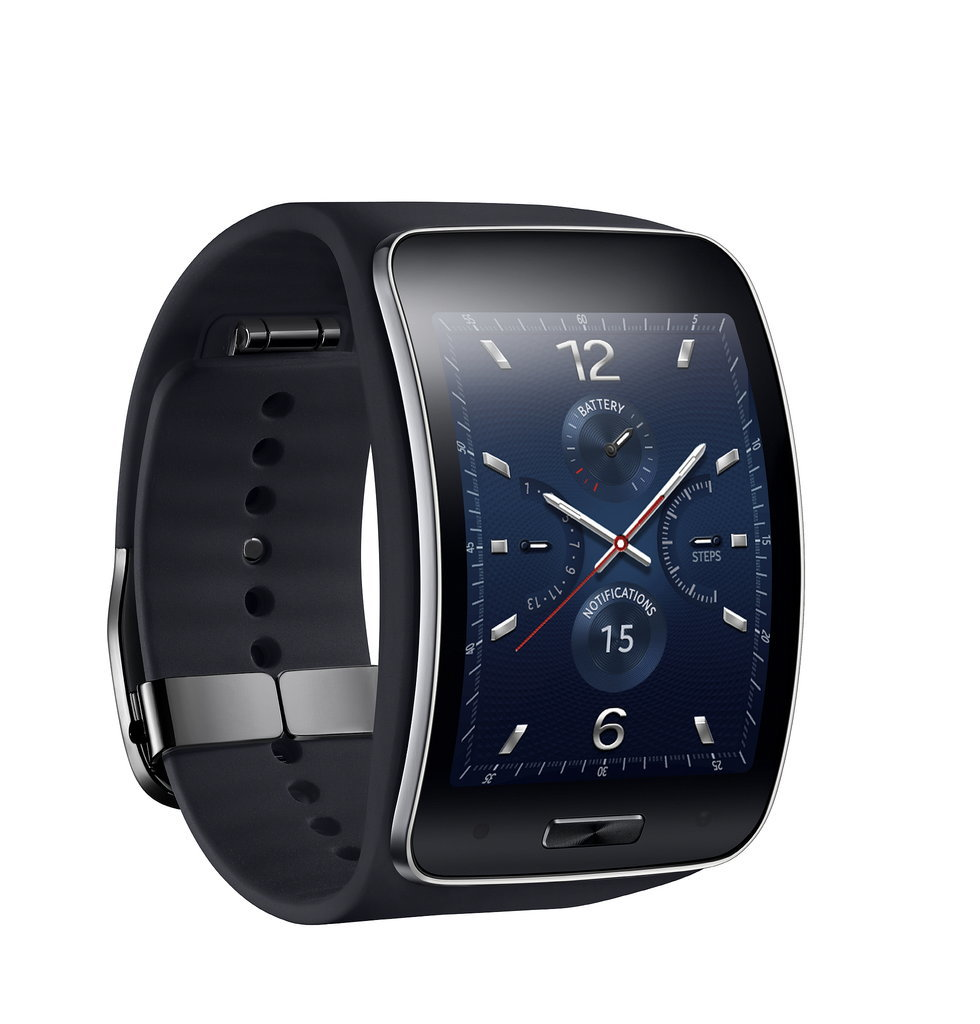 Here's a close-up of the black Gear S's curved display. Source: Samsung
