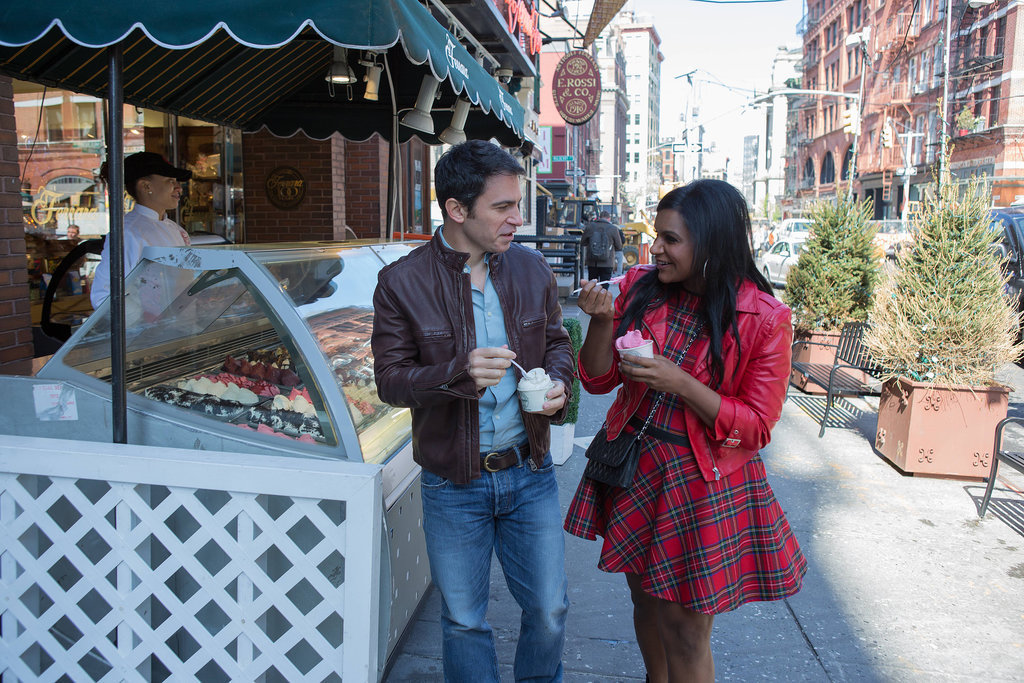 Danny (Chris Messina) and Mindy (Mindy Kaling) have a cute gelato date.