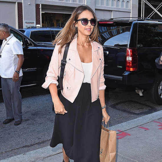 Jessica Alba Moto Jacket and Skirt Street Style
