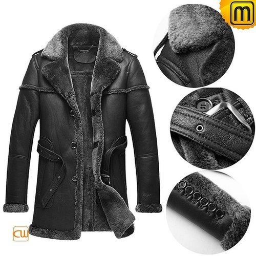 Black Sheepskin Leather Coat CW878578