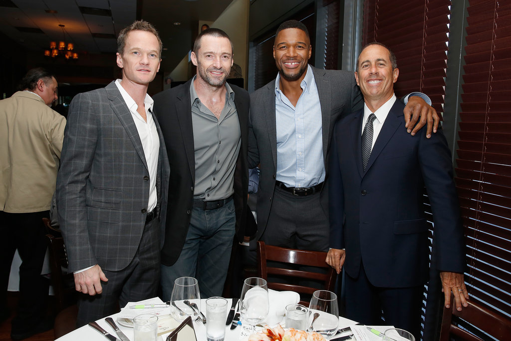 Jerry Seinfeld hosted a lunch to support the Baby Buggy Fatherhood Initiative with guests Neil Patrick Harris, Hugh Jackman, and Michael Strahan in NYC on Tuesday.