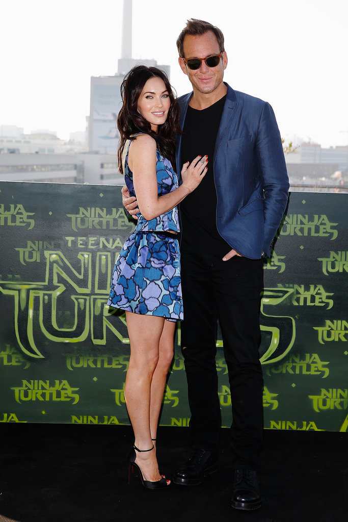 Megan Fox and Will Arnett teamed up at an event for their movie Teenage Mutant Ninja Turtles in Berlin on Sunday.