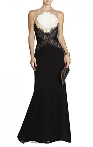 $207.00 BCBG AIDA SLEEVELESS GOWN WITH LACE CONTRAST