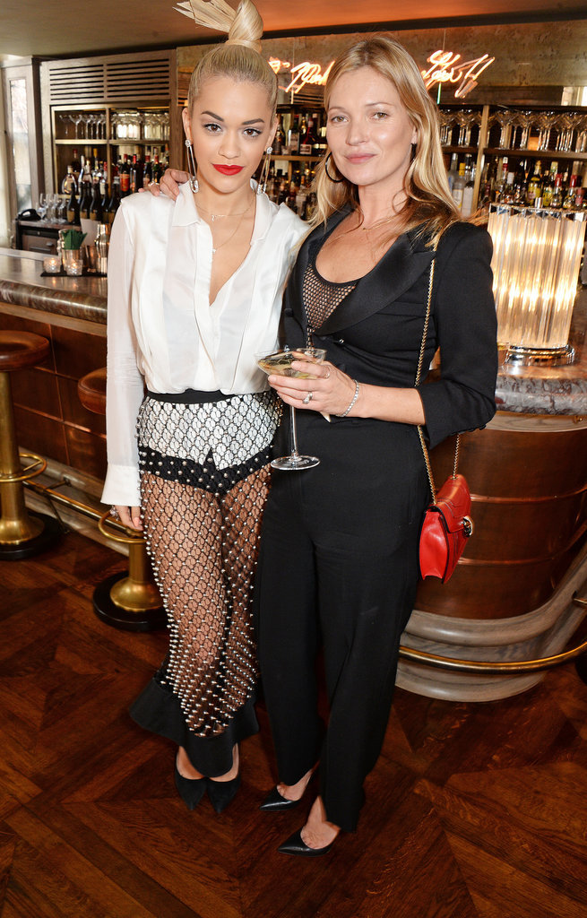 Kate Moss and Rita Ora hung out at the launch of The 34 Kate Moss Coupe, a Champagne glass design based on a mold of Kate's breast, in London on Wednesday.