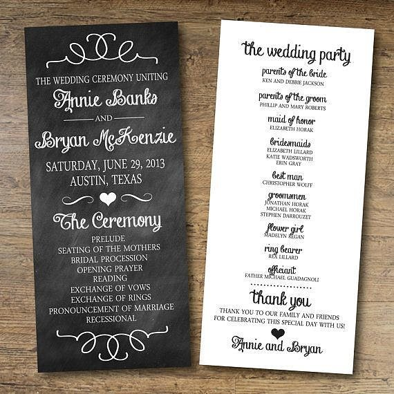 Chalkboard Wedding Program | 17 Unique (and Free!) Printable Wedding ...