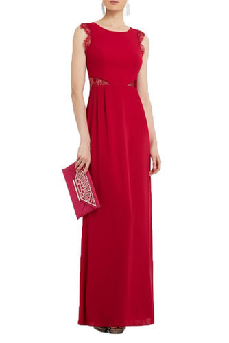 $198.00 BCBG KAREY LACE DETAIL EVENING GOWN ROSE