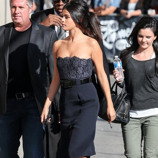 Selena Gomez Wear Strapless Navy Dress