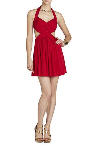 $128.00 BCBG SHEA HALTER CUTOUT COCKTAIL DRESS