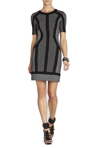 $167.00 BCBG CAMELA FITTED SHORT SLEEVE DRESS