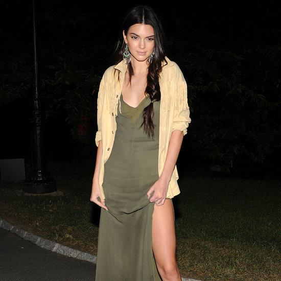 Kendall Jenner Wearing Khaki Dress