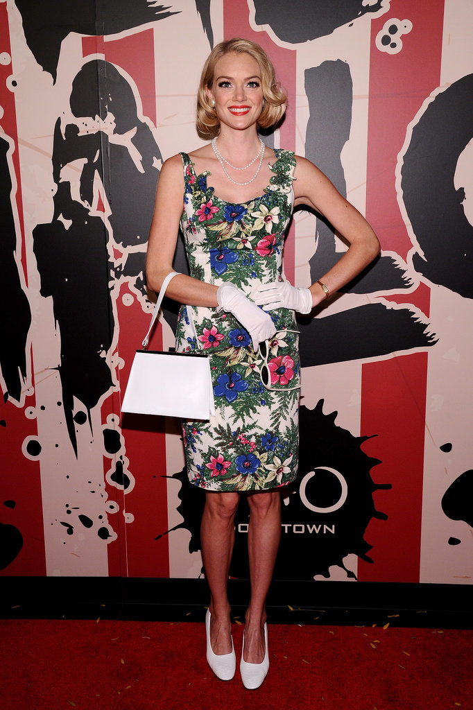 Lindsay Ellingson dressed up as Betty Draper in NYC in 2014.