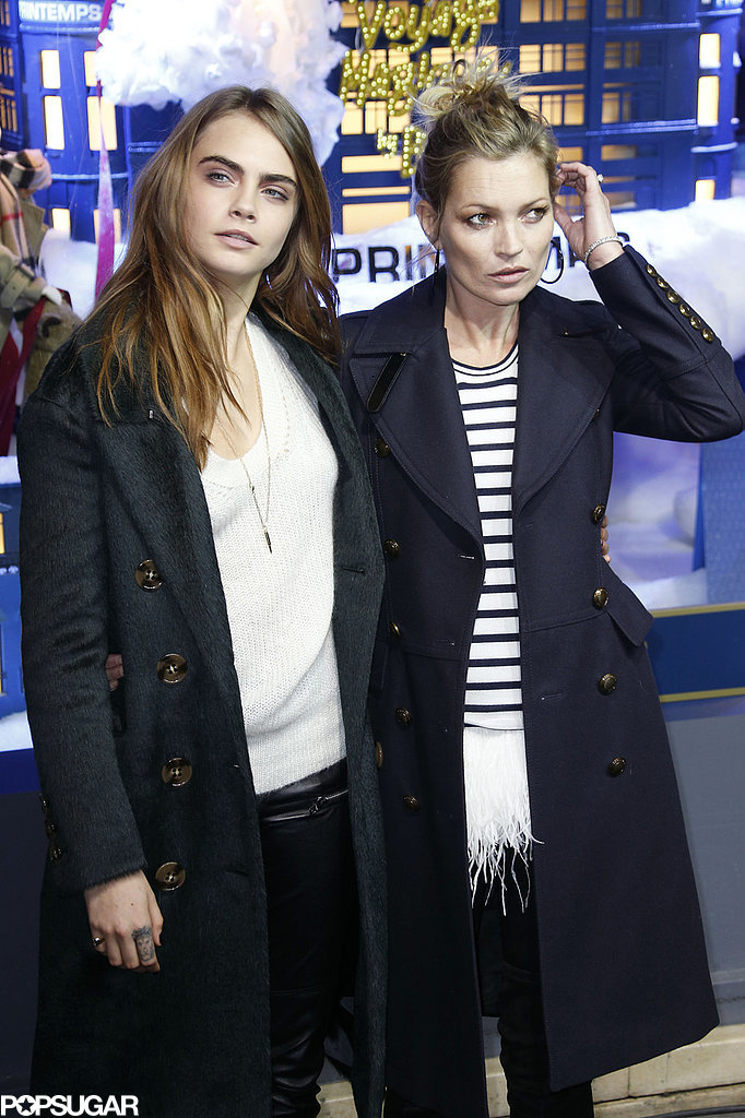 Kate Moss and Cara Delevingne made for a fierce pair at a Thursday Burberry event in Paris.