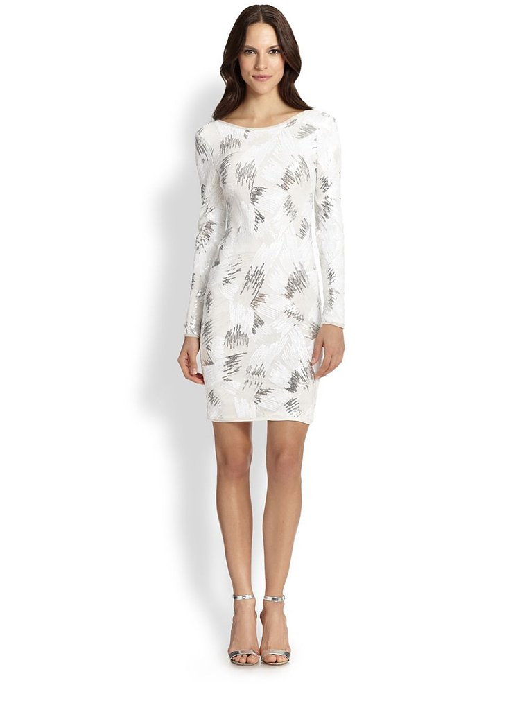 BCBG Max Azria Sequin Long-Sleeve Cocktail Dress