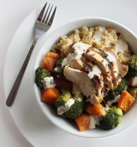 Chicken and Vegetable Quinoa Bowl With Tangy Tahini Dressing