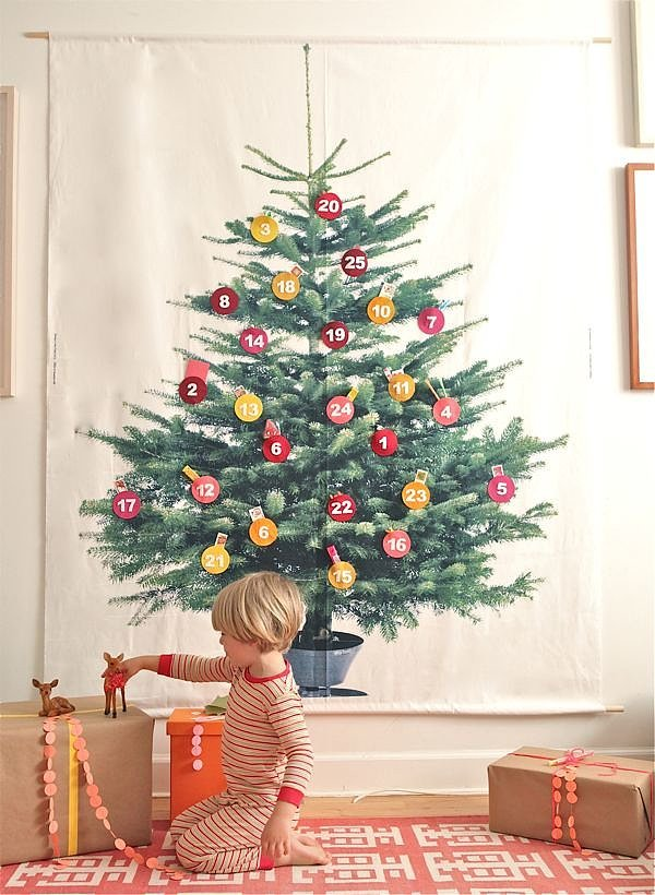 This christmas tree fabric from ikea can serve as a small Big christmas tree small space