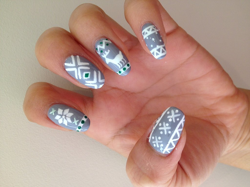 ugly sweater nail art popsugar beauty. Black Bedroom Furniture Sets. Home Design Ideas