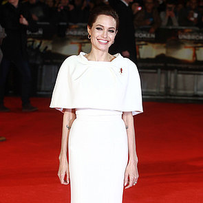 Angelina Jolie in a White Dress at the Unbroken Premiere