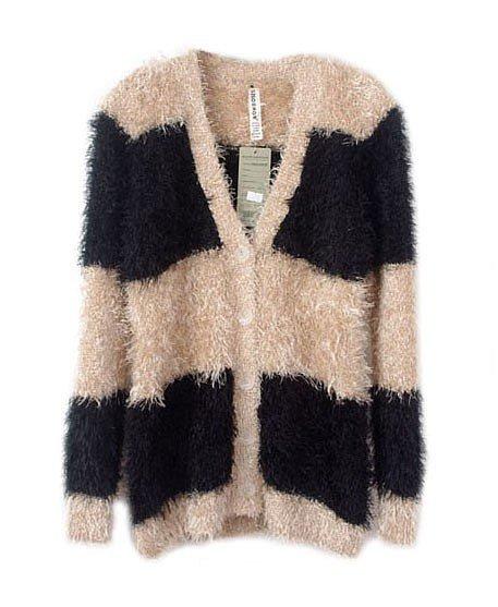 Chicnova Fluffy Color Block Cardigan