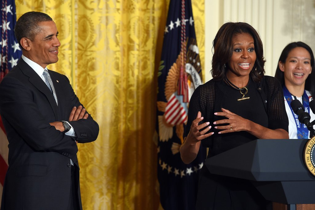 The first lady joked around with President Obama when the US Olympic athletes visited the White House in April.