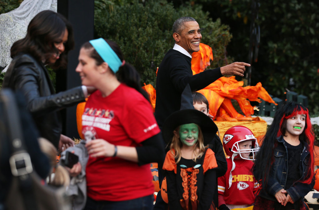 The Obamas welcomed kids to the White House to trick or treat on Halloween.
