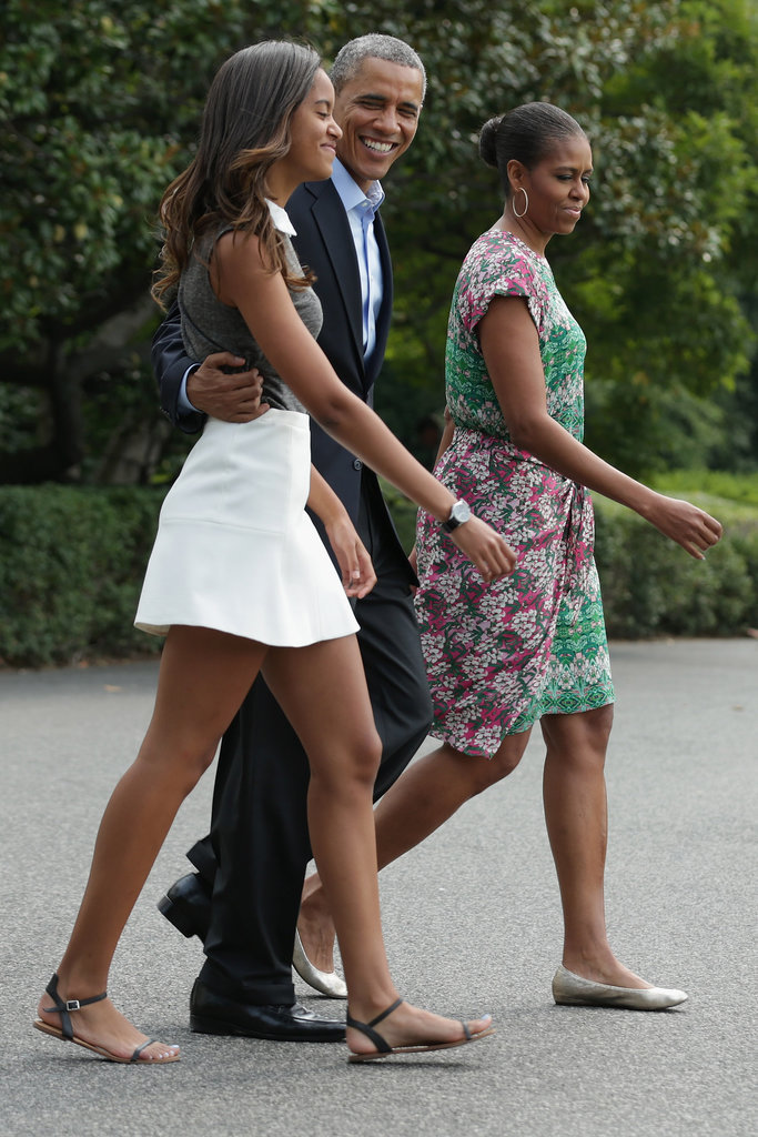 Malia and President Obama were all smiles as they left the White House with Michelle in August.