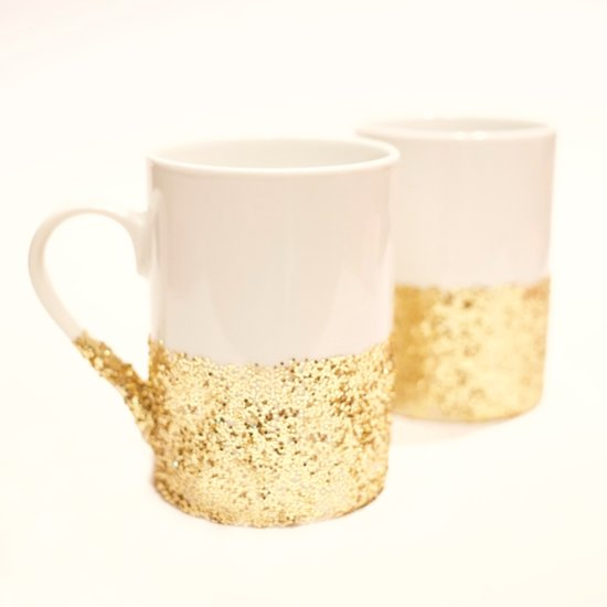 DIY Dishwasher-Safe Glitter-Dipped Mugs