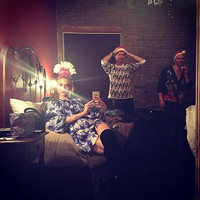 Yep, that's Jaime King in Taylor Swift's bed and Ansel Elgort in her bedroom. This is one of those random moments that could only happen at a Taylor Swift party.