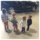 Kim Kardashian With North West and Her Cousins