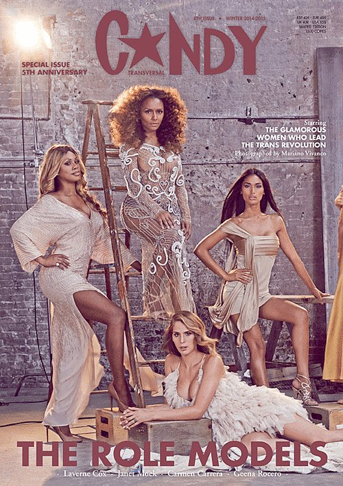 The actress appears alongside writer and activist Janet Mock, model Carmen Carrera­, and model Geena Rocero.